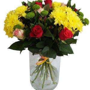 bouquet roses et chrysanthème