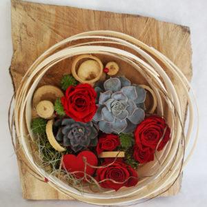 tableau végétal roses rouges