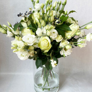 bouquet roses et lisianthus